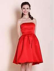 Knee-length Satin Bridesmaid Dress-Plus Size / Petite A-line / Princess Strapless