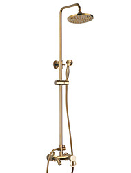 Personalized Shower Faucet Set in Contemporary style Single Handle Wall Mount Ti-PVD