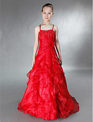 Floor-length Satin/Organza Junior Bridesmaid Dress - Ruby A-line/Princess Spaghetti Straps