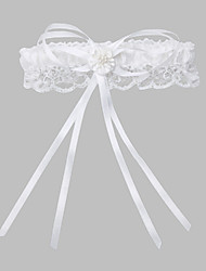 Garter Lace Polyester Imitation Pearl Ribbon White