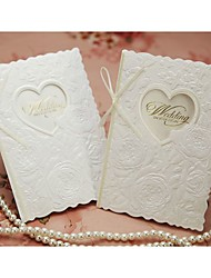 Floral Embossed Wedding Invitation With Ivory Ribbon (Set of 50)