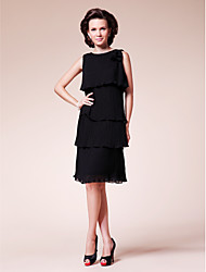 Lanting Sheath/Column Plus Sizes / Petite Mother of the Bride Dress - Black Knee-length Sleeveless Chiffon