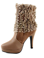 Leatherette Upper Stiletto Heel Ankle Boots With Applique Party/ Evening Shoes More Colors Available
