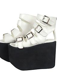 "Roman Style 5.5"" Platform White PU Lolita Sandals"