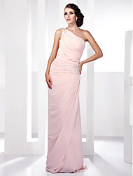 Prom / Formal Evening / Military Ball Dress - Plus Size / Petite Sheath/Column One Shoulder Floor-length Chiffon
