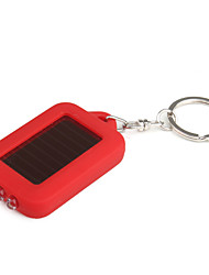 Solar Powered White Light LED and UV 3-LED Keychain Flashlight (Red)