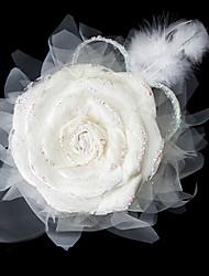 magnifiques dentelles / satin avec coiffe de mariée en plumes de noces