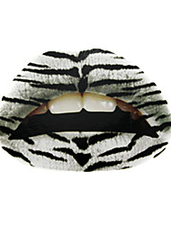 5 Pcs White Tiger Design Temporaty Lip Tattoo Sticker