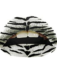 5 pcs projeto do tigre branco temporaty etiqueta tatuagem lábio