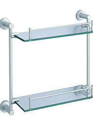 2-tier Eloxieren Aluminium Finish Regal mit satiniertem Glas
