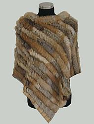 ts de pele de coelho xale poncho (65 centímetros de comprimento)