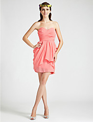 -Clearance! Mantel / Spalte Liebsten short / mini Chiffon-Brautjungfer Kleid