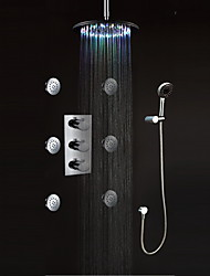 LED Wall Mount Thermostatic Shower Faucet with BodySprays (Chrome Finish)