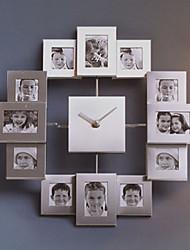 """15.75 """"h cadre photo métal horloge de mur muette"""