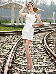 Lanting Sheath/Column Plus Sizes Wedding Dress - Ivory Short/Mini Square Satin