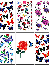 6 Pcs Rose and Butterfly Mixed Temporary Tattoo