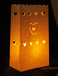 Wedding Décor Heart Shaped Cut-out Paper Luminary (Set of 4)