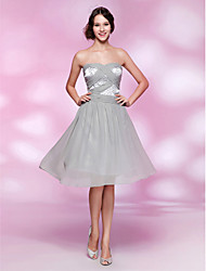 TS Couture® Cocktail Party / Homecoming Dress - Short Plus Size / Petite A-line / Princess Strapless / Sweetheart Knee-length Chiffon / Stretch Satin