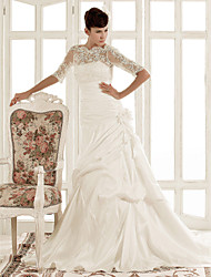 Lanting Bride A-line / Princess Misses / Petite / Plus Sizes Wedding Dress-Chapel Train Jewel Lace / Taffeta