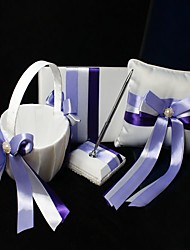 Wedding Collection Set In Ivory Satin With Lilac Ribbons (4 Pieces)