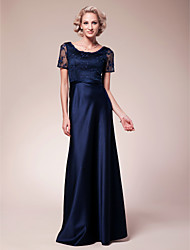 LAN TING BRIDE Sheath / Column Plus Size Petite Mother of the Bride Dress - Elegant Floor-length Short Sleeve Lace Satin with Beading Lace