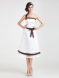 Lanting Tea-length Satin / Organza Bridesmaid Dress - Ivory Plus Sizes / Petite A-line / Princess Strapless