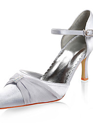 Satin Upper Low Heel Closed-toes With Rhinestone Wedding Bridal Shoes.
