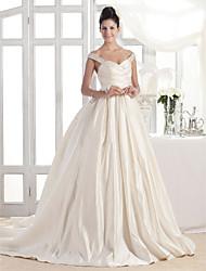 LAN TING BRIDE Trapèze Princesse Robe de mariée - Classique & Intemporel Tout Simplement Superbe Traîne Tribunal Epaules Dénudées Satin