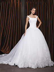 Lanting Bride Ball Gown Petite / Plus Sizes Wedding Dress-Chapel Train Off-the-shoulder Organza
