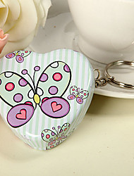 Green Stripe and Butterfly Design Heart Shaped Mint Tin (set of 6)