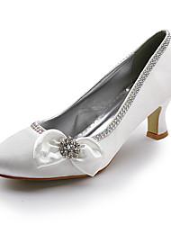 Satin Upper Mid Heel Closed-toes With Satin Flower/ Rhinestone Wedding Bridal Shoes