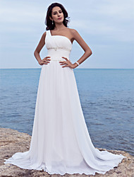 Lanting Sheath/Column One Shoulder Court Train Chiffon Wedding Dress