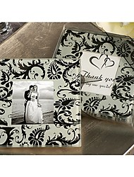 faveur coaster photo en noir damas design (jeu de 2)