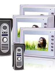 Three 7 Inch Color TFT LCD Video Door Phone with 2 Waterproof Cameras (420 TVL)