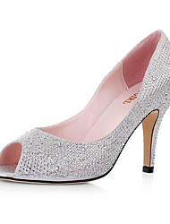 Sparkling Glitter High Heel Peep Toe Pump With Rhinestone Wedding Shoes (More Colors)