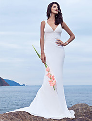 Lan Ting Trumpet/Mermaid Plus Sizes Wedding Dress - Ivory Sweep/Brush Train V-neck Chiffon