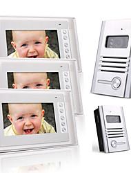 três de 7 polegadas TFT colorido LCD de vídeo porta telefone sistema de intercomunicação (2 câmeras de liga leve)