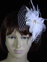 Women's / Flower Girl's Feather / Tulle Headpiece-Wedding / Special Occasion Fascinators / Flowers