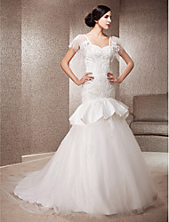 Lanting Trumpet/Mermaid Sweetheart Court Train Lace And Tulle Wedding Dress