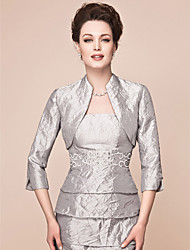 Women's Wrap Shrugs 3/4-Length Sleeve Taffeta Silver Wedding Party/Evening Wide collar 39cm Draped Open Front