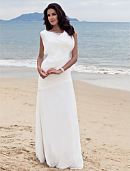 Lanting Bride Sheath/Column Petite / Plus Sizes Wedding Dress-Floor-length Bateau Chiffon
