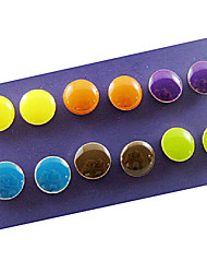 Colorful Button Stud Earrings (6 pairs)