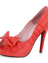 cuir pompes peep toe stiletto avec l'arc (plus de couleurs)