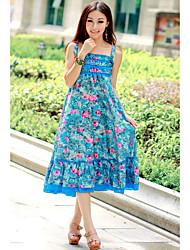 Cotton Square Neck Print Maxi Dress (More Colors)