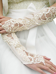 Elbow Length Fingerless Glove Satin Bridal Gloves Spring / Summer / Fall / Winter Sequins / Beading