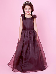 A-line Princess Floor-length Flower Girl Dress - Organza Satin Jewel with Bow(s) Draping Flower(s)