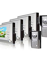 четыре 7 дюймовый цветной монитор видео домофон системы (2 сплава непогоды камеры крышкой)