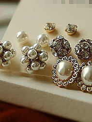 Sparkle Jewel Round Stud Earrings Set(Product May Vary)