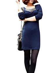vestito di cotone a manica lunga tunica