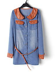 de blocage de raccordement de couleur pu longue chemise